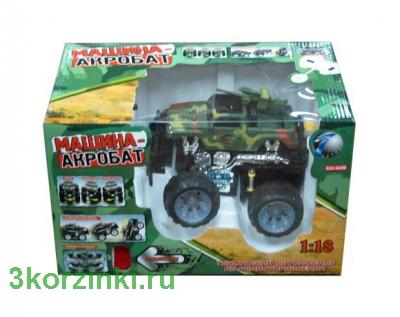 Машина на радиоуправлении, аккум. акробат вооруженные силы, биг-уил, свет, звук, бамп-энд-гоу, коробка