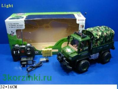 Радиоуправляемая машинка, аккум. армейская с тентом. Элементы питания в комплект входят
